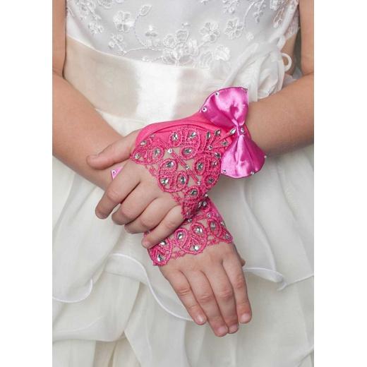 Перчатки митенки малиновые мини для девочки для платья