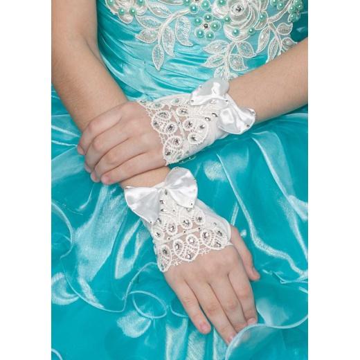 Перчатки митенки для нарядного платья для девочки молочные мини