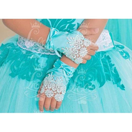 Перчатки митенки для платья без пальцев морская волна мини