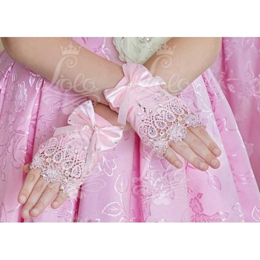 Перчатки митенки для девочки для платья розовые мини
