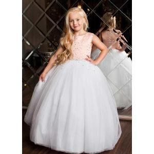 Нарядное платье в пол для девочки белое с розовым