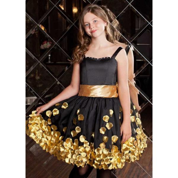 Вечернее коктейльное платье для девочки черное с золотом