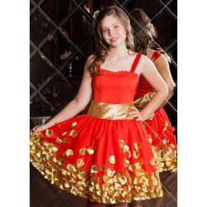 Нарядное коктейльное платье для девочки красное с золотом