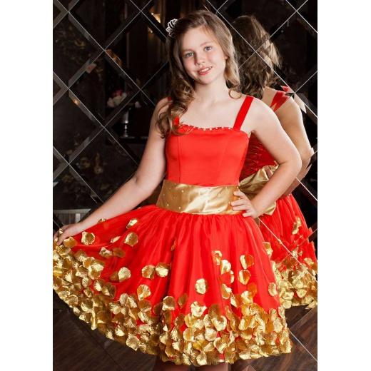 Коктейльное платье детское  красное с золотом