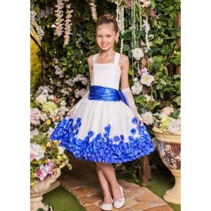 Платье для маленькой принцессы молочное с синим