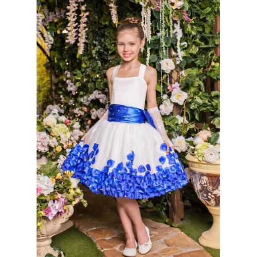 Платье детское коктейльное нарядное молочное с синим