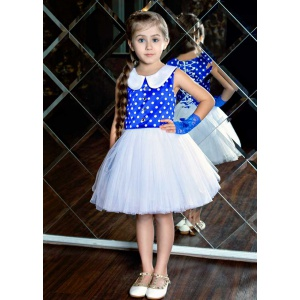 Нарядное платье для маленькой принцессы белое с синим