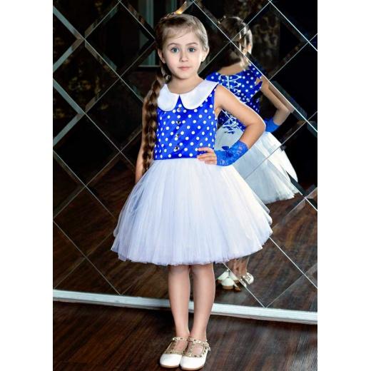 Платье до колена для девочки белое с синим