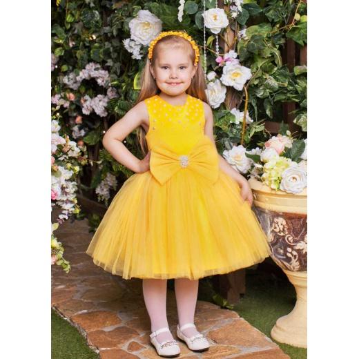 Короткое платье для девочки желтое