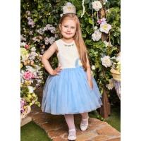 Пышное платье для девочки молочное с голубым