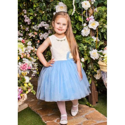 Бальное платье для девочки короткое молочное с голубым