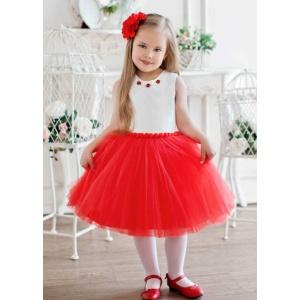 Праздничное платье для девочки молочное с красным