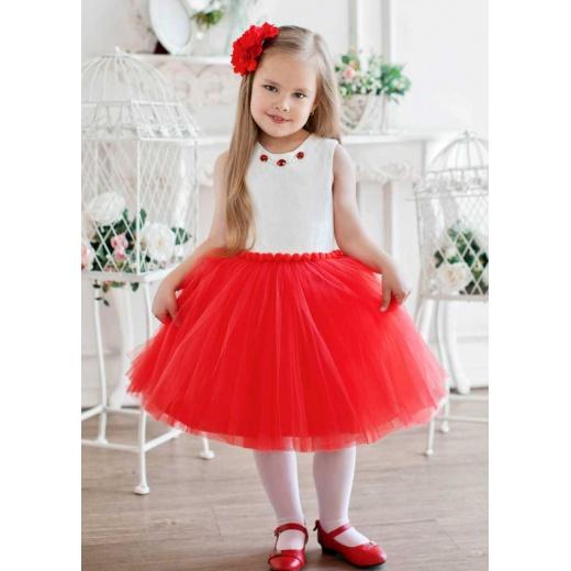 Пышное платье для девочки короткое молочное с красным