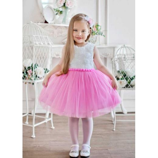 Коктейльное платье для девочки  белое с розовым
