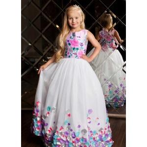Вечернее платье в пол для девочки белое с цветными лепестками