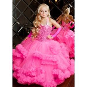 Пышное малиновое  платье с пайетками для девочки