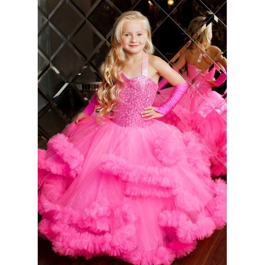 Детское нарядное платье  из атласа и фатина