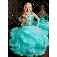 Нарядное платье с блестками цвета морской волны для девочки
