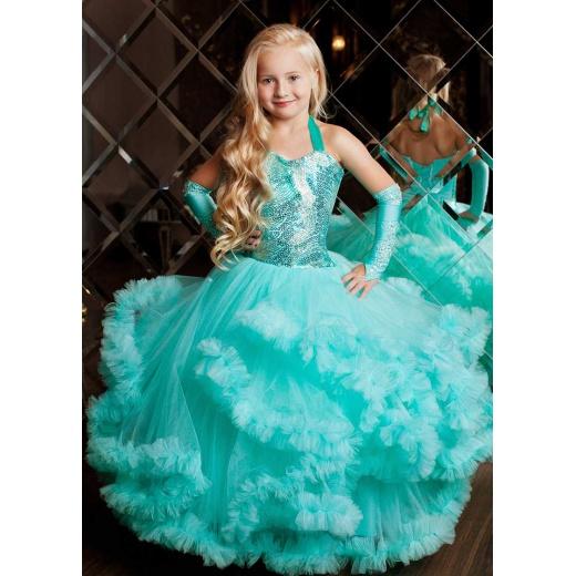 Детское длинное пышное платье для девочки цвета морской волны