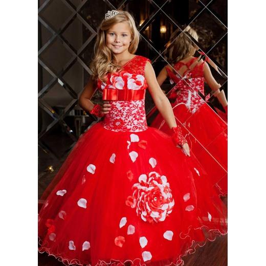 Красное вечернее платье в пол для девочки