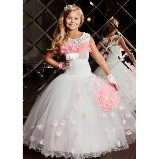 Платье для девочки нарядное длинное пышное  молочное с розовым