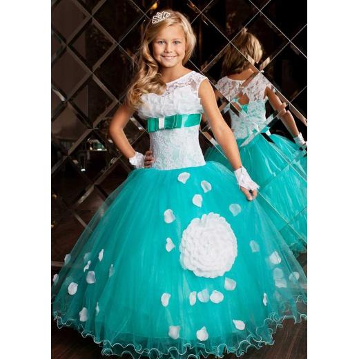 Платье с пышной юбкой для девочки цвета морской волны