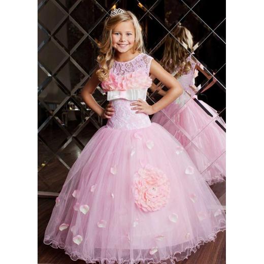 Платье для девочки праздничное пышное розовое