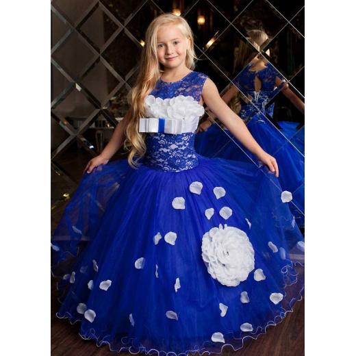 Синее пышное платье для девочки до пола