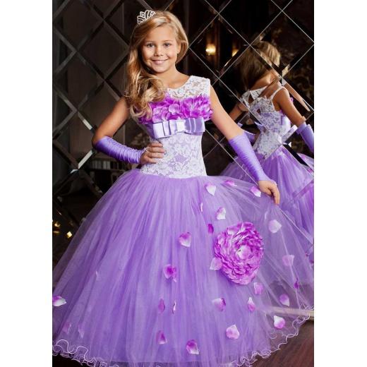 Детское вечернее платье для девочки сиреневое