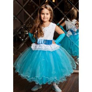 Пышное бирюзовое платье для девочки