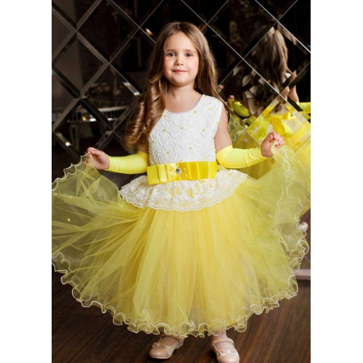 Пышное платье для девочки в пол желтое