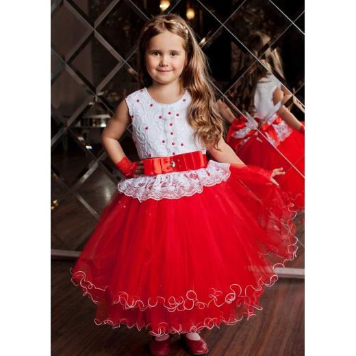Красивое детское пышное платье красное