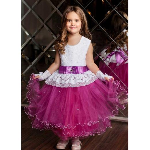 Пышное нарядное платье для девочки малиновое