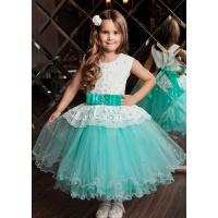 Платье на торжество для девочки морская волна