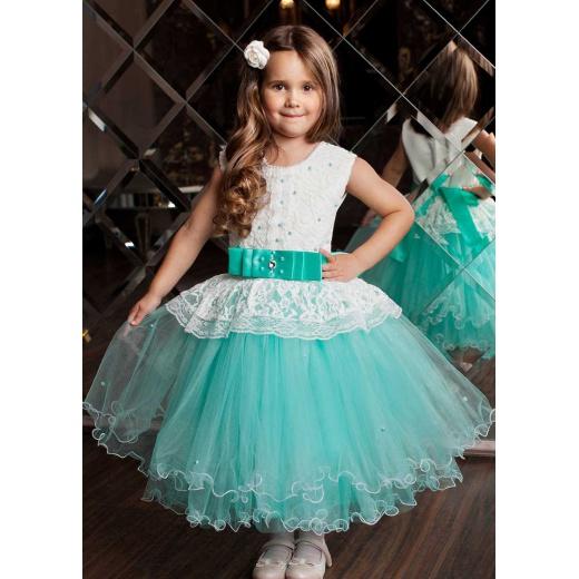 Пышное платье принцессы для девочки цвета морской волны