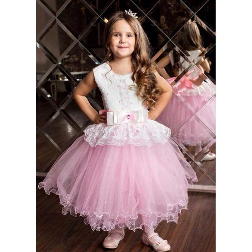 Платье нарядное вечернее для девочки розовое