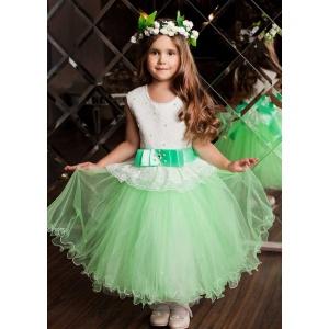 Праздничное салатовое платье для девочки
