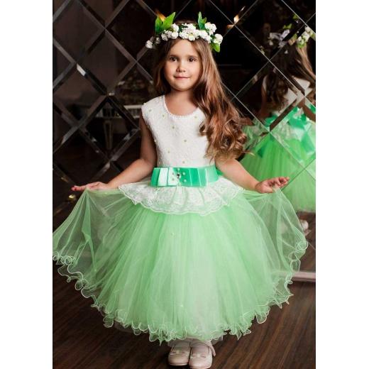 Детское пышное платье в пол салатовое