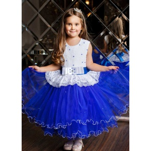 Бальное платье с фатиновой юбкой для девочки синее