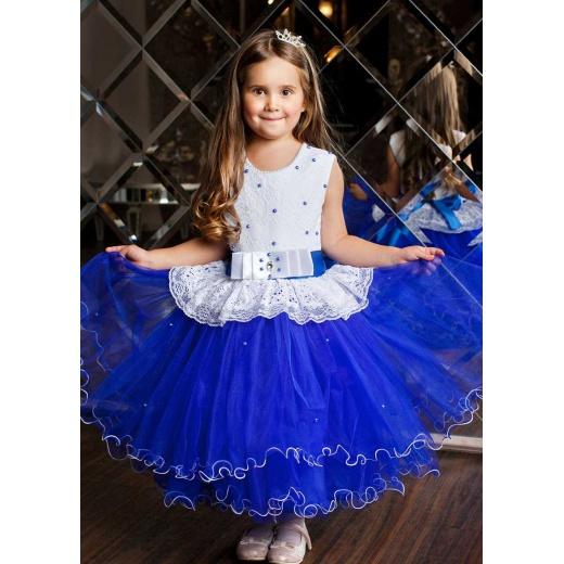 Нарядное детское платье пышное синее