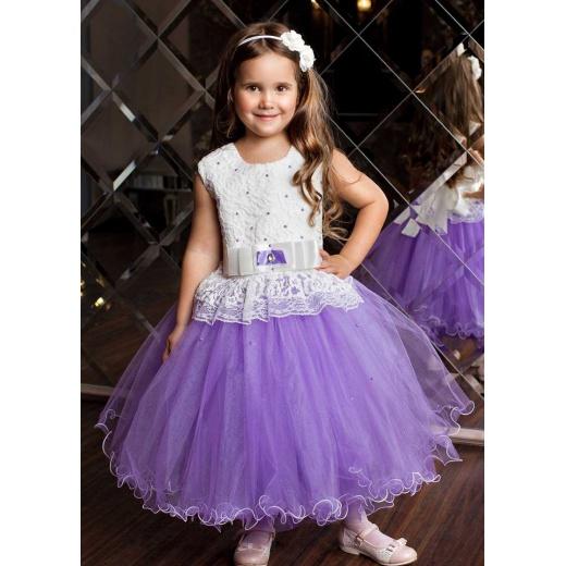 Красивое вечернее платье для девочки сиреневое