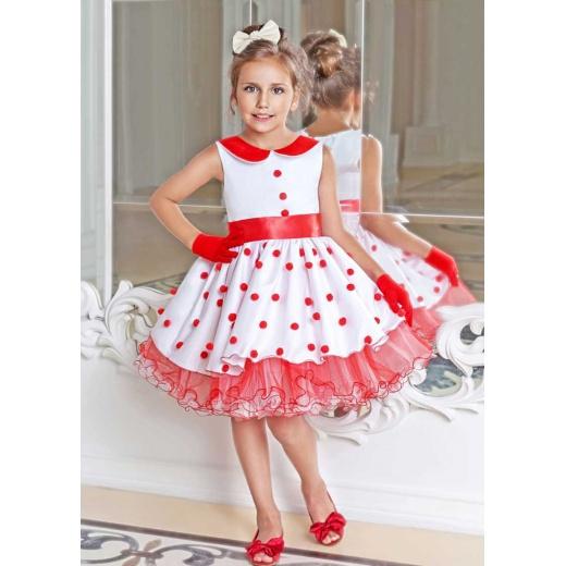 Шикарное детское платье Стиляги белое с красным
