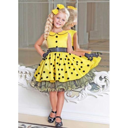 Модное детское платье Стиляги для девочки желтое с черным
