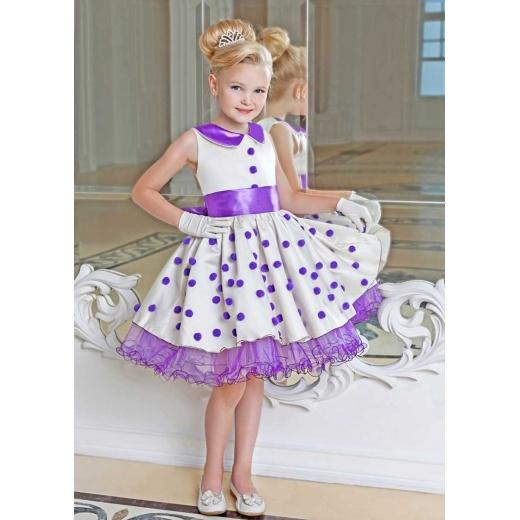 Детское праздничное платье Стиляги для девочки молочное с сиренью