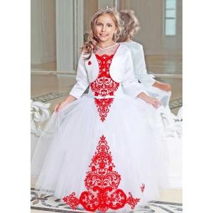Нарядное платье для девочки белое с красным