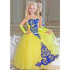 Бальное платье для девочки желтое с синим