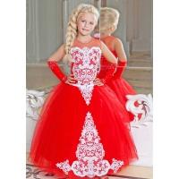 Пышное платье для девочки красное с белым