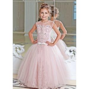 Длинное платье для девочки розовое (пудра)
