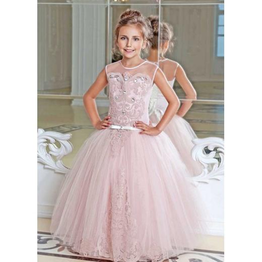 Модное нарядное платье для девочки розовое (пудра)