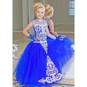 Платье в пол для девочки синее с белым